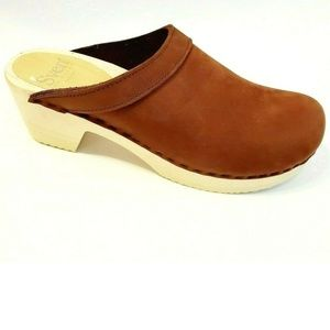"New Sven by No. 6 Nu Buc Leather Clog 2.5"" heel 39"